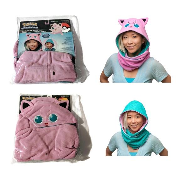 Pokemon Jiggly Puff Hooded Scarf Reversible Design Pink Teal Fleece